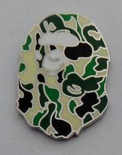*NEW* A bathing Ape,Bape style enamel green camo pin badge.Ian Brown,Drake,Indie