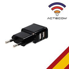 ACTECOM® CARGADOR PARED DOBLE USB NEGRO PARA TELEFONOS SMARTPHONE MOVILES