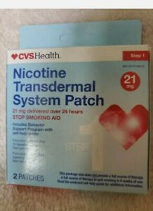 CVS HEALTH NICOTINE TRANSDERMAL SYSTEM PATCH STEP 1 -21mg 2Patches Brand New