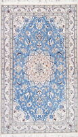 NEW Wool/SILK Light BLUE Floral Nain Oriental Hand-Knotted 4'x7' Area FOYER Rug