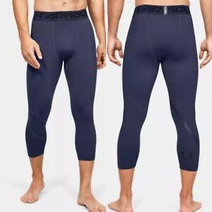Under Armour  MEN'S L Heatgear®  ¾ Compression Leggings Pants  Blue Ink 1352093