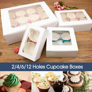 2/4/6/12 Holes Cupcake Box Window Face Cake Boxes Boards White Cupcake Boxes AU