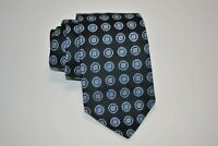 Ike Behar Geometric Floral Medallion Neck Tie Black Blue Silk Handmade USA