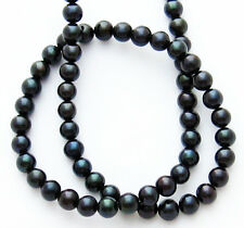 "Freshwater Pearl Peacock Black Large 9-10mm Potato Round Beads 15"" Strand W55 A"