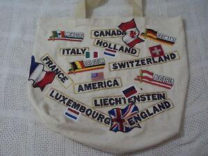 1980/'s World Traveler Vintage Canvas Heavy Duty Tote Bag London Paris New York Rome