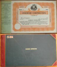 Bound Book of Stock Certificates from 'CINEMUSIC Corporation' - Music - NJ