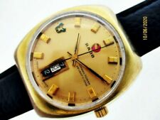 VINTAGE RADO GREEN HORSE MENS GOLD AUTO MENS 71 JEWEL DAY DATE #11873 WATCH $1