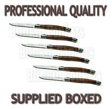 SET OF 6 FRENCH STYLE WOODEN HANDLE STEAK KNIVES SERRATED EDGE KNIFE CUTLERY BOX