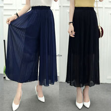 New Women Chiffon High Waist Wide Leg Casual Baggy Long Trousers Dress Pants Hot