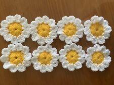 "8x CROCHET FLOWERS 3"" DAISY HANDMADE"