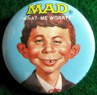"MAD MAGAZINE ""WHAT ME WORRY?"" Alfred E. Neuman Promo Pinback Button 1987"