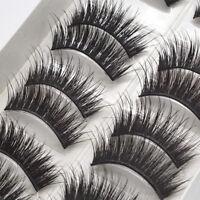 10 Pairs Fake Eye Lashes Natural Handmade Long Cross Thick False Eyelashes Black