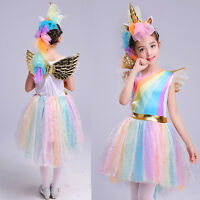 Kids Girls Unicorn Party Costume Fancy Tulle Dress + Wing + Headwear Outfits Set