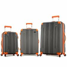 Deep Gray Orange 3Pc Luggage Suitcase Set Hard Expandable Uprights Spin Rollers