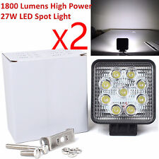 1800LM 27W Square Waterproof Offroad White LED Work Light Spot Fog DRL,2pcs