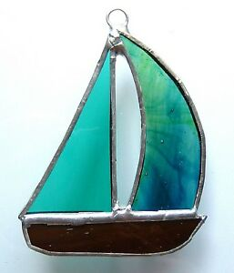 YACHT stained glass suncatcher boat window hanging sailing racing sport fishing