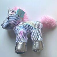 "Hug Me Stuffed Animal Unicorn-10"" Plush-Pink/White/Silver-Age3+ NWT"