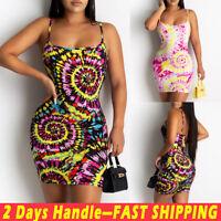 Women's Tie Dye Bodycon Sling Dress Ladies Strappy Summer Holiday Mini Sundress