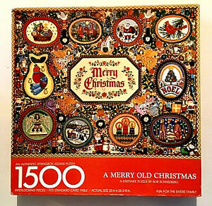 """VINTAGE SPRINGBOK """"A MERRY OLD CHRISTMAS"""" 1500 PIECE JIGSAW PUZZLE---COMPLETE"""