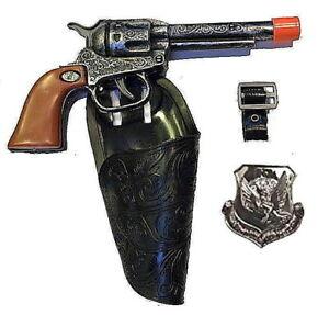Kids Western Hero Cowboy Holster Set w/ Clicker Pistol, Belt, Badge CLOSEOUT