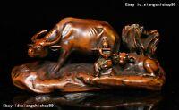 6 Chinese Folk Collect Boxwood Wood Carved TongZi Boy Bull Ox buffalo boy Statue