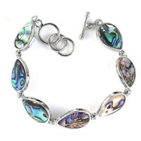 Handmade Natural Rainbow Abalone shell Gemstone Silver Cham Drop Bracelets
