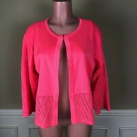 Misook Womens Knit Cardigan Sweater Top Neon Pink Size XS Excellent
