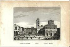 Stampa antica LUCCA veduta Piazza San Michele 1834 Old antique print Engraving