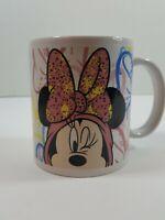 Rare Error Disney Parks Minnie Mouse Ceramic Coffee Mug Cup pink blue black