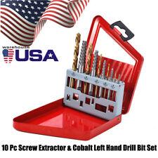 10pc Screw Extractor | Left Hand Cobalt Drill Bit Set Easy Out Broken Bolt