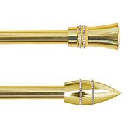 Bastone tenda estendibile 120-210cm acciaio cromato dorato strass asta 10 anelli