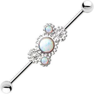 Steampunk Ear Industrial Barbell Body Jewelry Opal Gems 14g 38mm