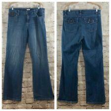 "Liz & Co Women's Jeans 10 Stretch Medium Wash Boot Cut Flap Pocket 31"" Inseam"