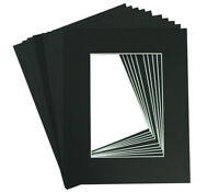 Pack of 10, 8x10 BLACK Picture Acid-Free Mats with White Core for 5x7 Photo