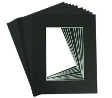 Set of 10 5x7 Black Picture Mats Mattes with White Core for 4x6 +Backing +Bags