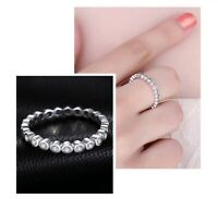 Ladies Ring 925 Sterling Silver Cubic Zirconia Stackable Ring Eternity Fine Ring