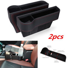 2pcs PU Leather Car Seat Slit Pocket Storage Organizer Caddy Bag Cup Holder Box