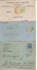 URUGUAY 1917/9 -  ARTIGAS LITHOGRAPHIC ISSUE LOT OF THREE COVERS TO BRAZIL