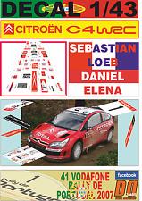 DECAL 1/43 CITROEN C4 WRC SEBASTIAN LOEB R.PORTUGAL 2007 WINNER (04)