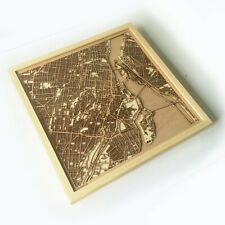 Montreal Wooden Map - Laser Cut Streets City Maps 3d Framed Wall Art Wood