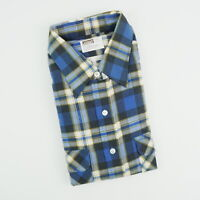 Vintage NOS Montgomery Ward Mens XLT Blue Plaid Flannel Long Sleeve Shirt NEW