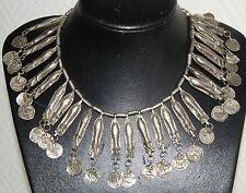 Parure boucles d'oreilles et collier ancien ethnique berbère en métal argenté