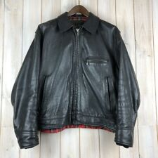 Vintage 1980s Aero Highwayman Steerhide Black Leather Jacket Tartan Lining L/ XL