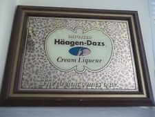 "VINTAGE HAAGEN-DAZS CREAM LIQUEUR WOOD FRAMED MIRRORED BAR SIGN 21X16"" MAN CAVE"