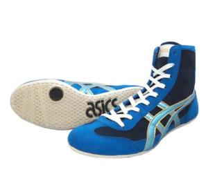 asics Wrestling shoes EX-EO TWR900 Black Ice blue Reinforced blue Boxing shoes