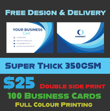 100 BUSINESS CARDS 350GSM WHITE CARD DOUBLE SIDED QUALITY PRINT + FREE DESIGN