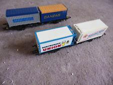LOT 2 WAGONS container DANZAS HAPAG LLOYD PILSNER BIERE ROCO HO coach waggon R73
