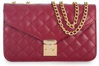 Womens Designer Quilted Faux Vegan Leather Evening Clutch Handbag Bag Purse