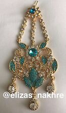 Indian/Pakistani Bollywood Style Jewellery Turquoise and Gold jhoomar
