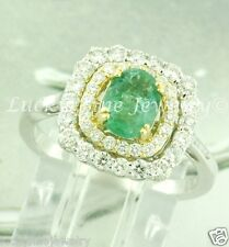 1.63 ct 18k 2 tone Gold ladies Natural Colombian Emerald & Diamond Ring made USA